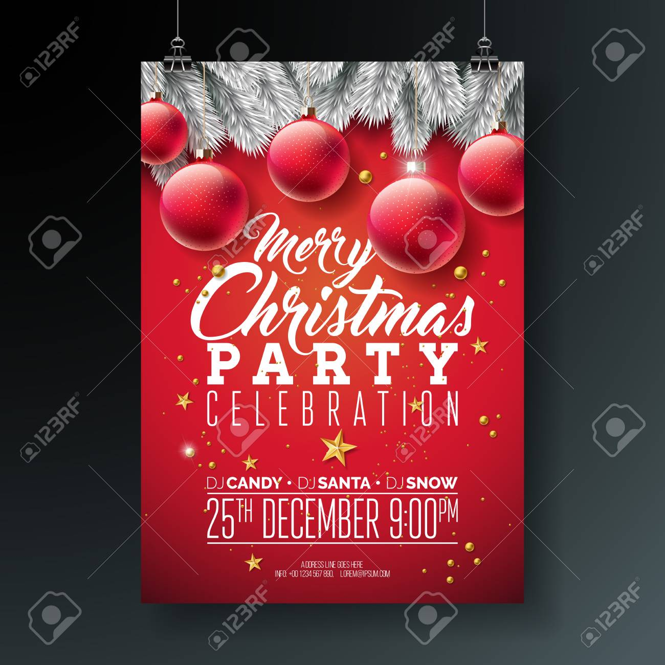 Christmas Party Flyer Template.Vector Merry Christmas Party Flyer Illustration With Typography