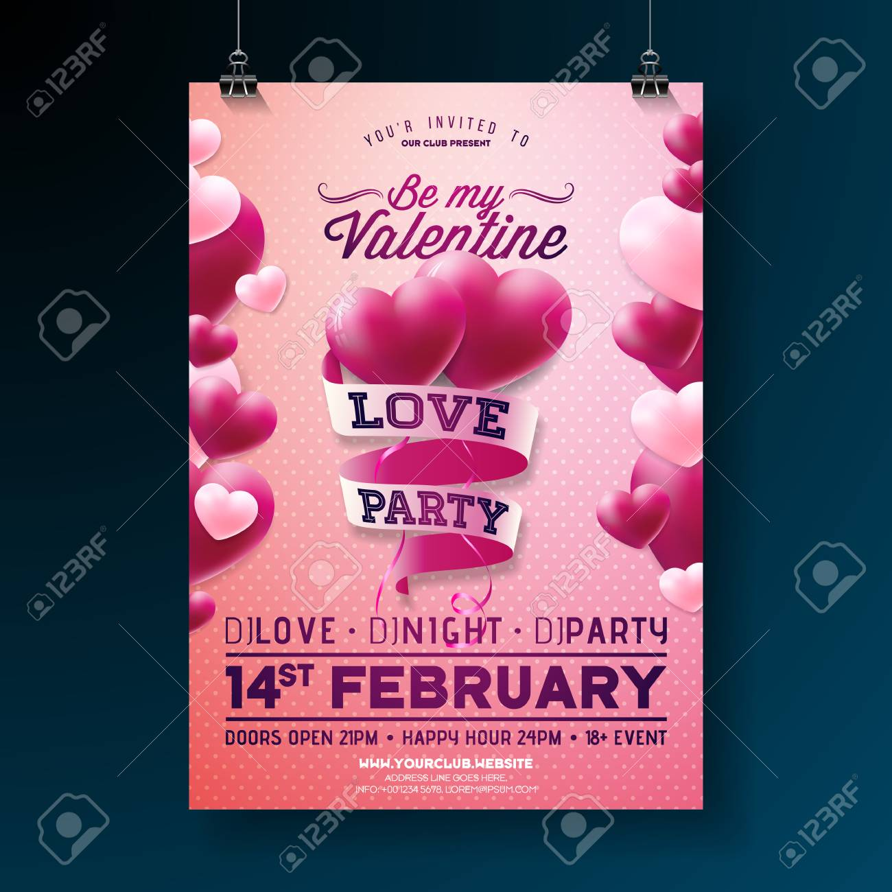 Pink party flyer background design