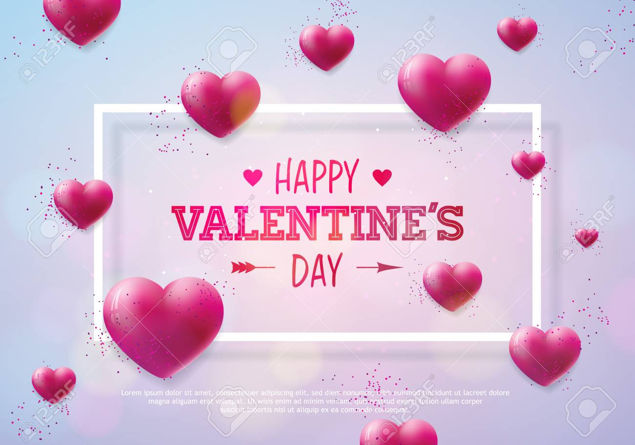 Valentines Day Design with Red Heart on Shiny Background. Vector Wedding and Romantic Love Theme Illustration for Greeting Card, Party Invitation or Promo Banner - 93643177