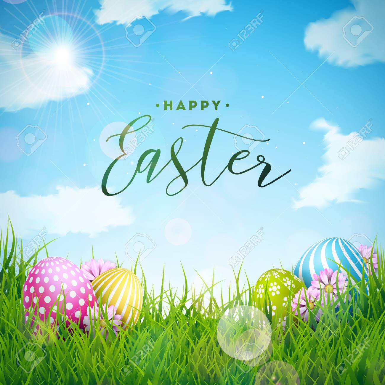 Vector Illustration Of Happy Easter Holiday With Painted Egg ...