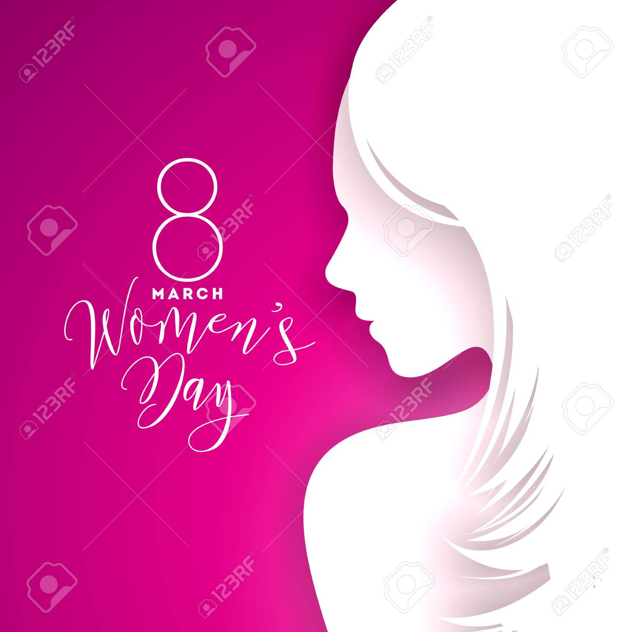 Happy womens day greeting card design with sexy young woman happy womens day greeting card design with sexy young woman silhouette stock vector 95892315 m4hsunfo