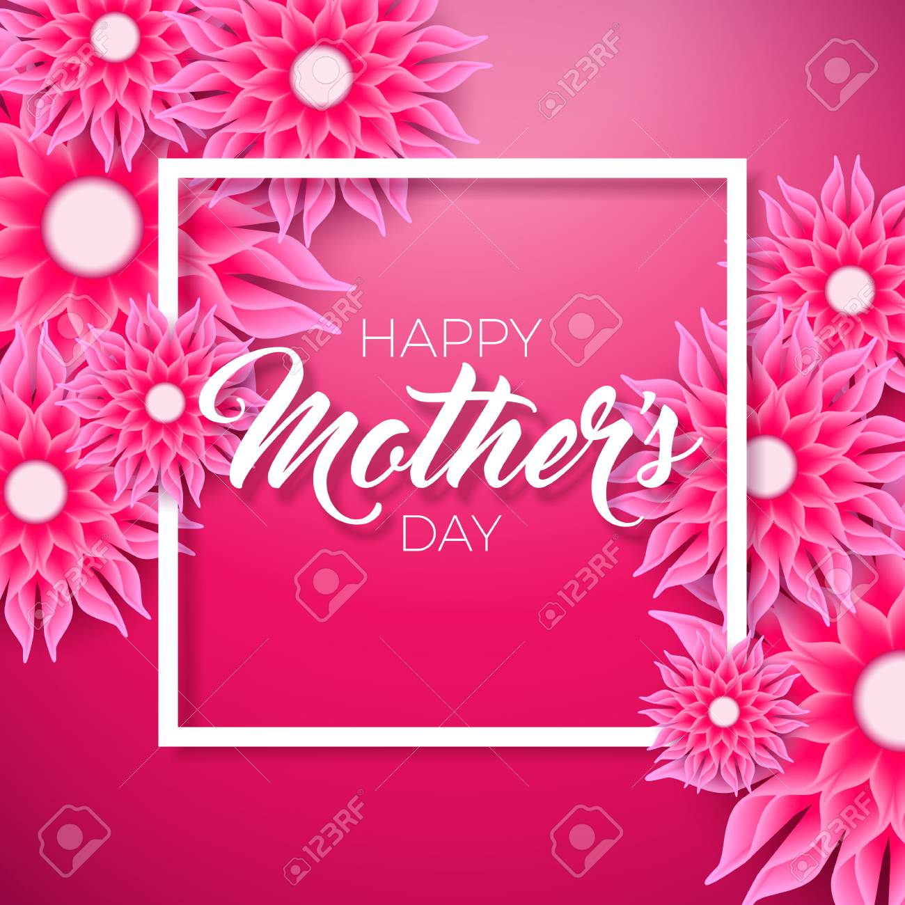 Happy mothers day greeting card with flower on pink background happy mothers day greeting card with flower on pink background vector celebration illustration template with m4hsunfo