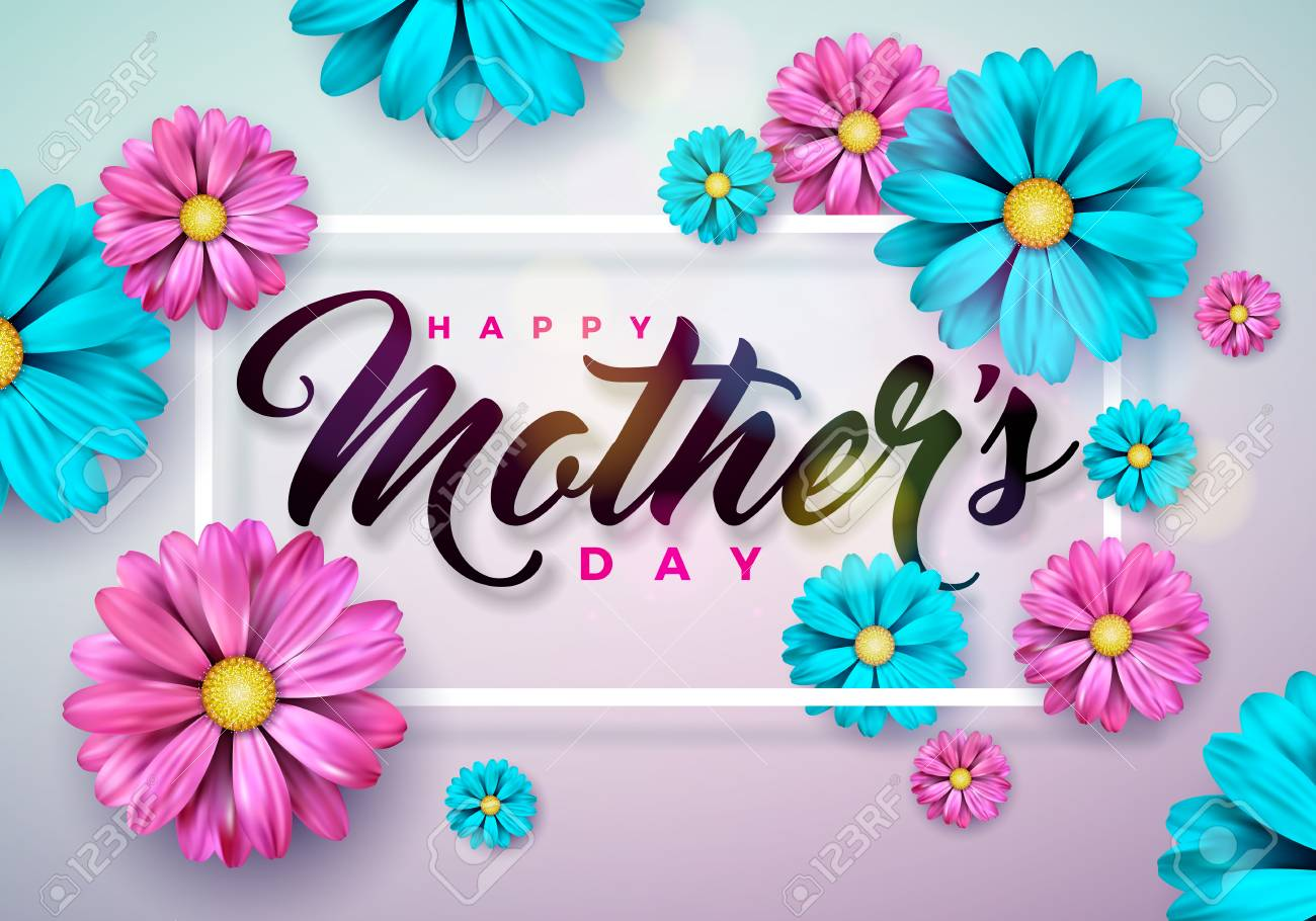 Happy Mothers Day Greeting card with flower on pink background. Vector Celebration Illustration template with typographic design for banner, flyer, invitation, brochure, poster - 97128966
