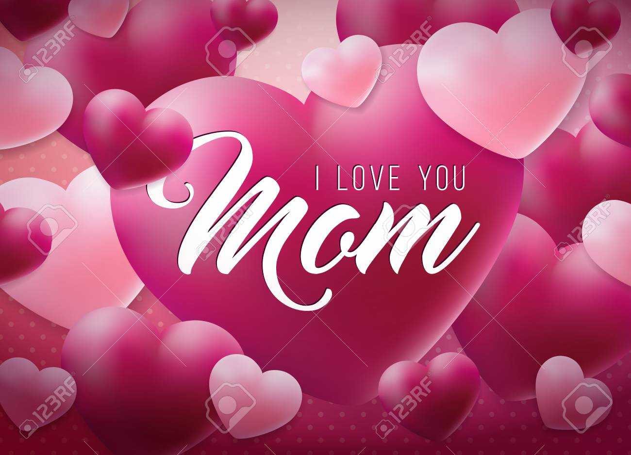 Happy Mothers Day Greeting Card Design With Heart And Love You