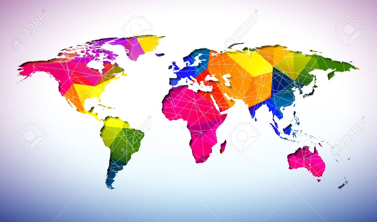World map design with abstract geometric color background on vector world map design with abstract geometric color background on environment concept earth illustration with continents vector graphic for banner gumiabroncs Images
