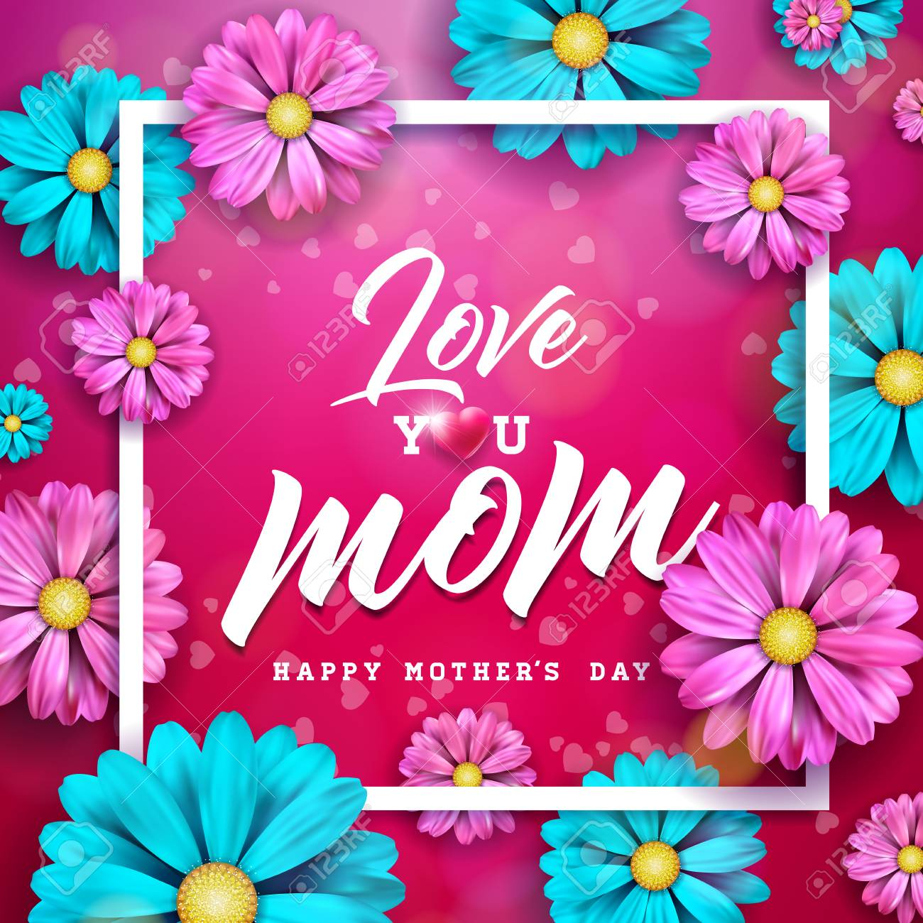 Astonishing Happy Mothers Day Greeting Card Design With Flower And Birthday Cards Printable Opercafe Filternl
