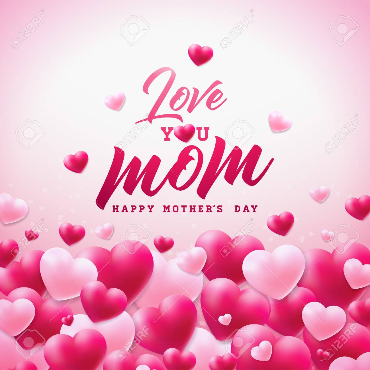 Happy mothers day greeting card design with heart and love you happy mothers day greeting card design with heart and love you mom typographic elements on white m4hsunfo