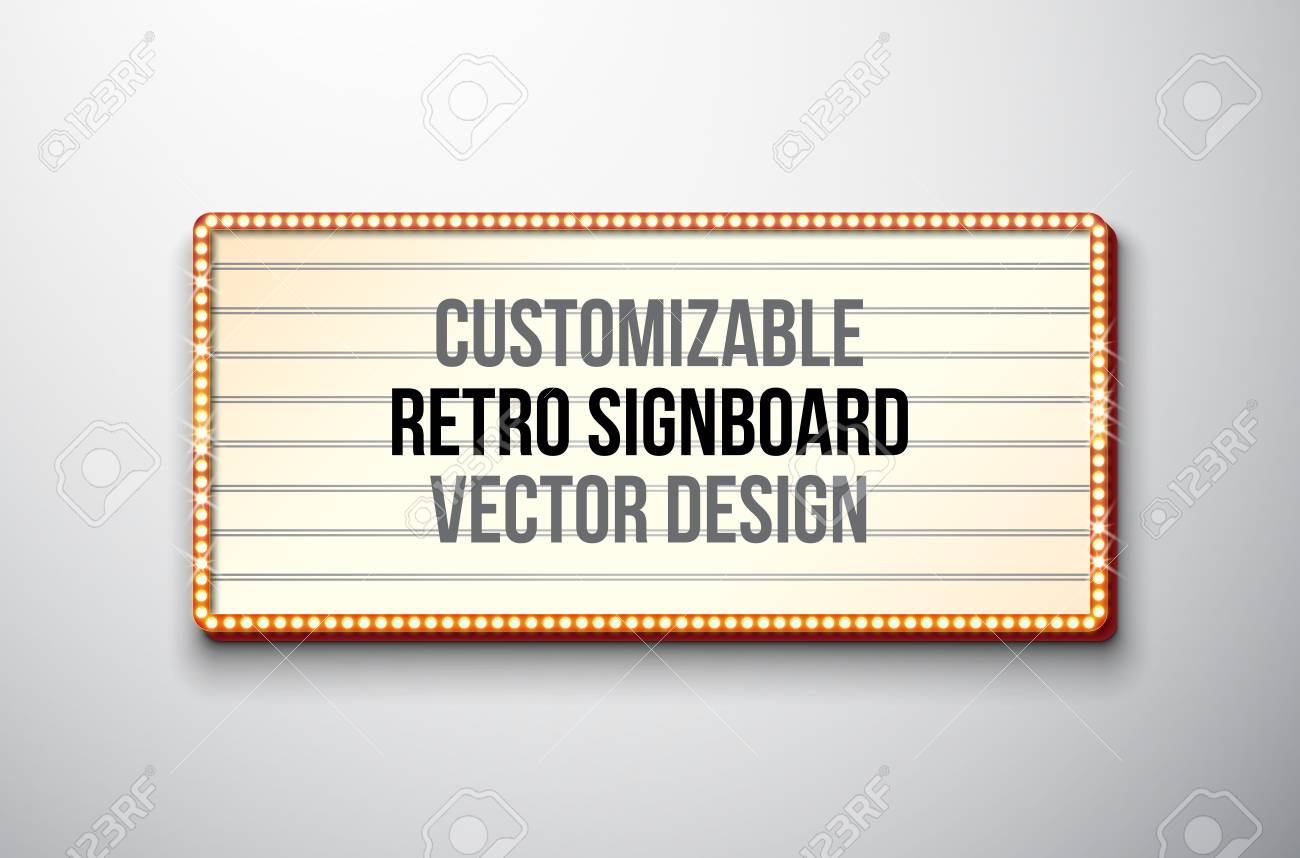 Vector retro signboard or lightbox illustration with customizable design on clean background. Light banner or vintage bright billboard for advertising or your project. - 101219113
