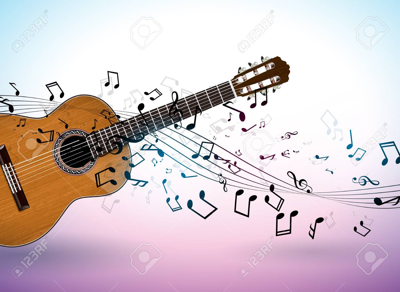 Music Banner Design With Acoustic Guitar And Falling Notes On Royalty Free Cliparts Vectors And Stock Illustration Image 101974453