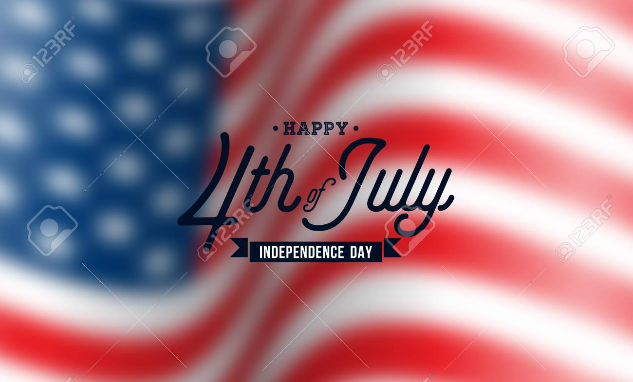 Happy Independence Day of the USA Vector Background. Fourth of July Illustration with Blurred Flag and Typography Design for Banner, Greeting Card, Invitation or Holiday Poster. - 102789403