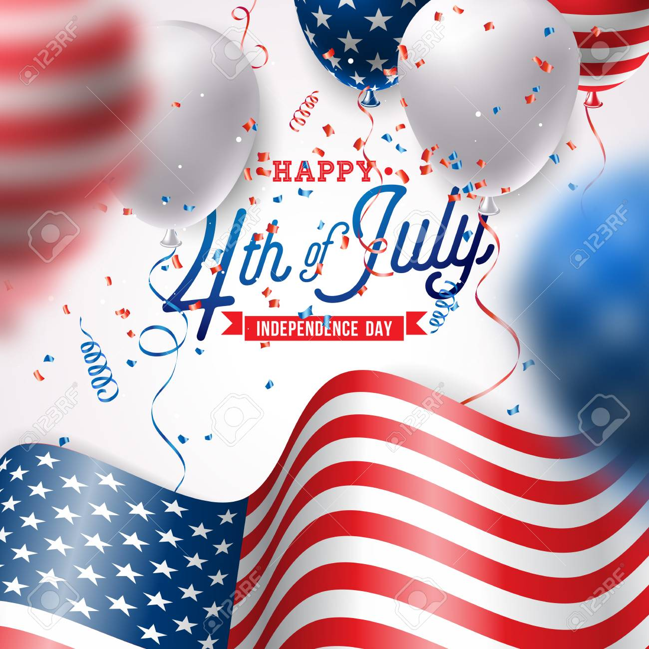 Independence Day of the USA Vector Illustration. Fourth of July Design with Air Balloon and Flag on White Background for Banner, Greeting Card, Invitation or Holiday Poster. - 102789407