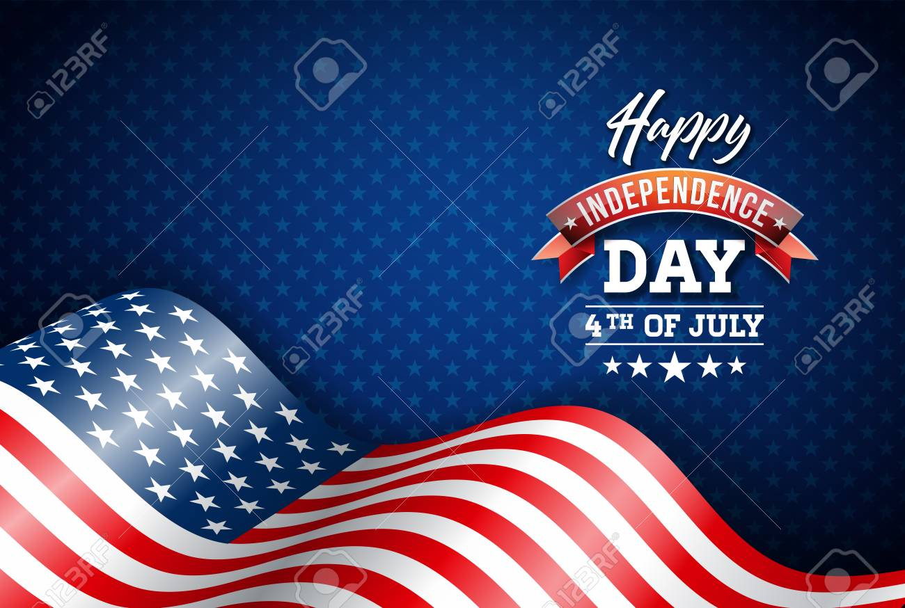 Happy Independence Day of the USA Vector Illustration. Fourth of July Design with Flag on Blue Background for Banner, Greeting Card, Invitation or Holiday Poster. - 103785694