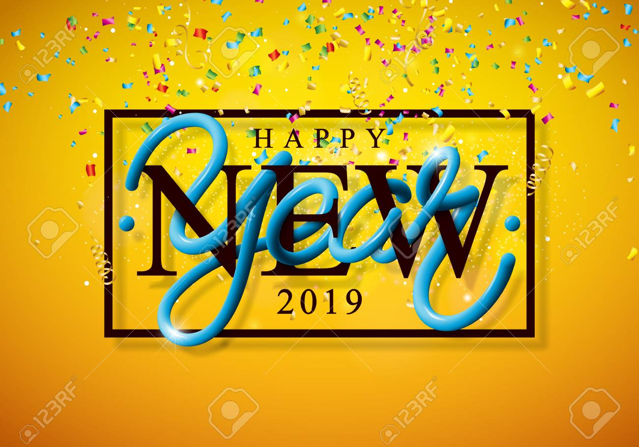 2019 Happy New Year Illustration With 3d Typography Lettering