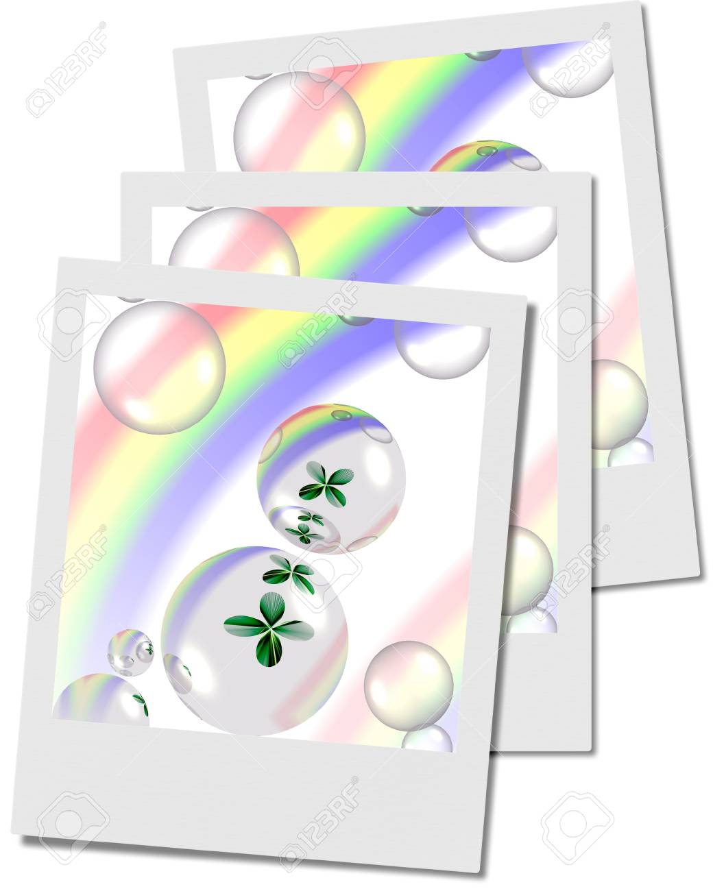 shamrock and bubbles with rainbow polaroids, illustration, computer-generated, Stock Illustration - 3181441