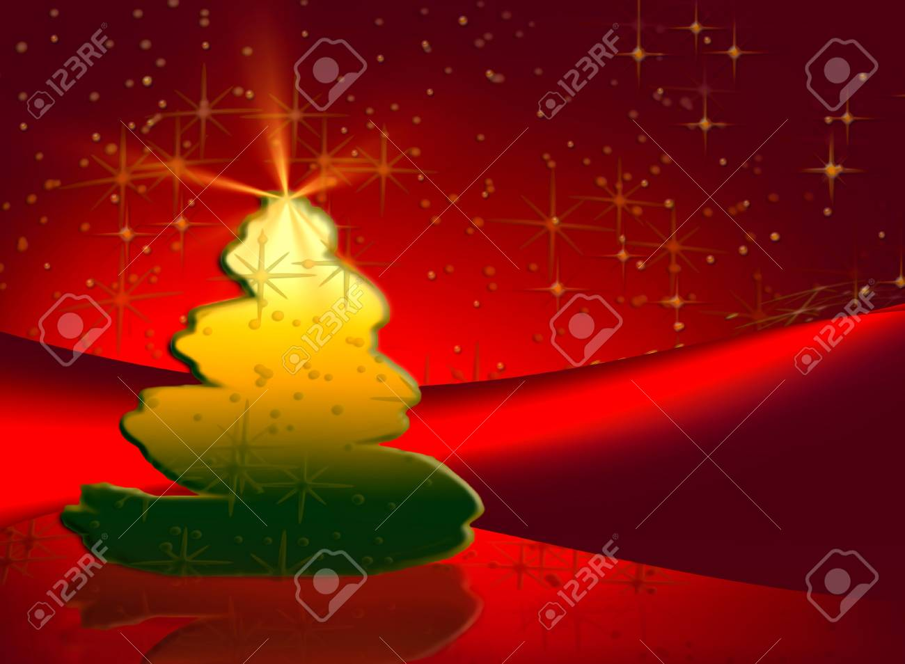 Christmas tree shining in the night, illustration Stock Photo - 3776844