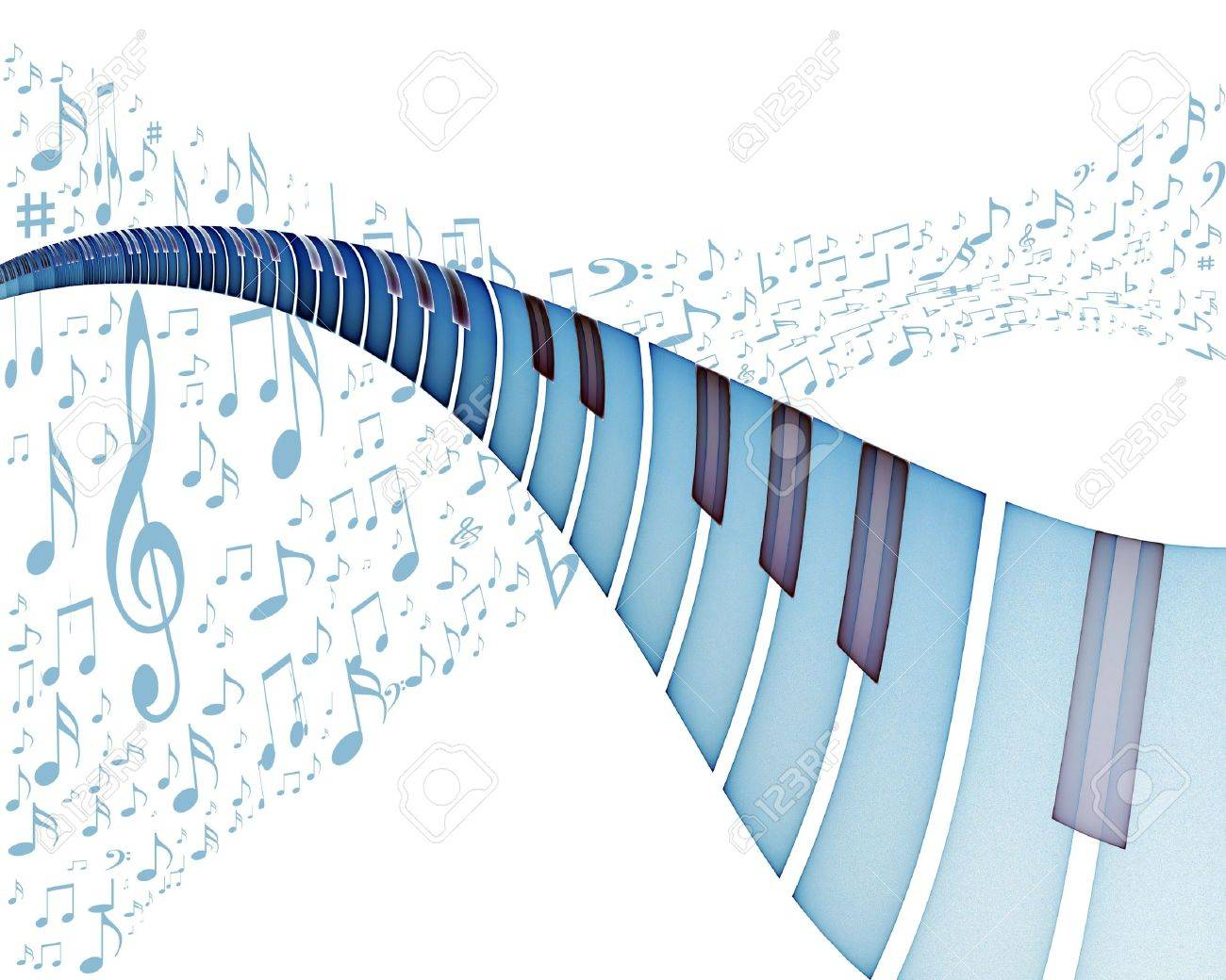 Blue keyboard with piano music notes dancing away, illustration on white background, Stock Illustration - 4023630