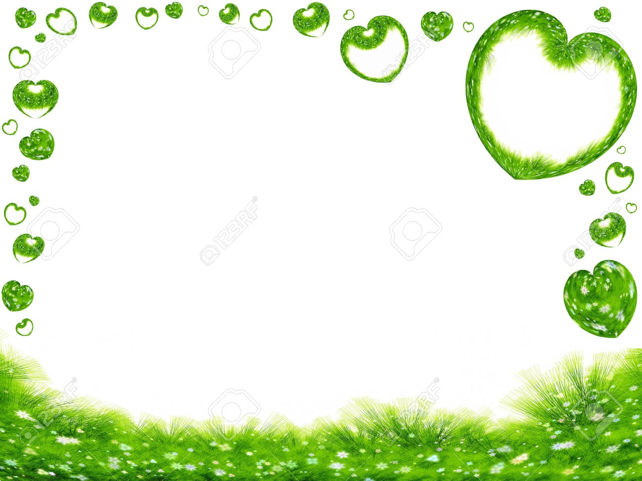 Green Spring Frame, Grass, Flowers And Hearts On White Background ...