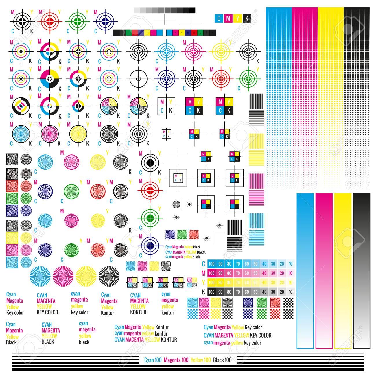 CMYK color management elements. Publishing graphic symbol utilities. Press mark. Calibration, cutting marks. - 115103865