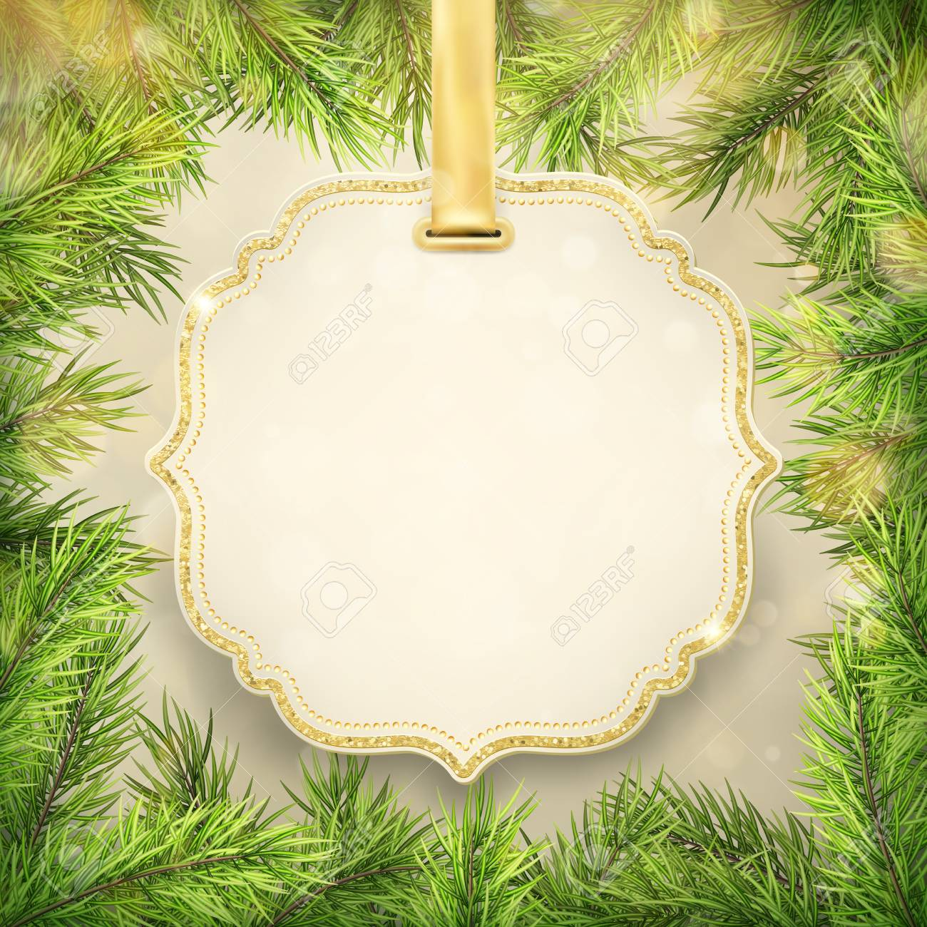 Christmas Tree Branches Frame With Label Tag Frame Decoration Royalty Free Cliparts Vectors And Stock Illustration Image 115279368