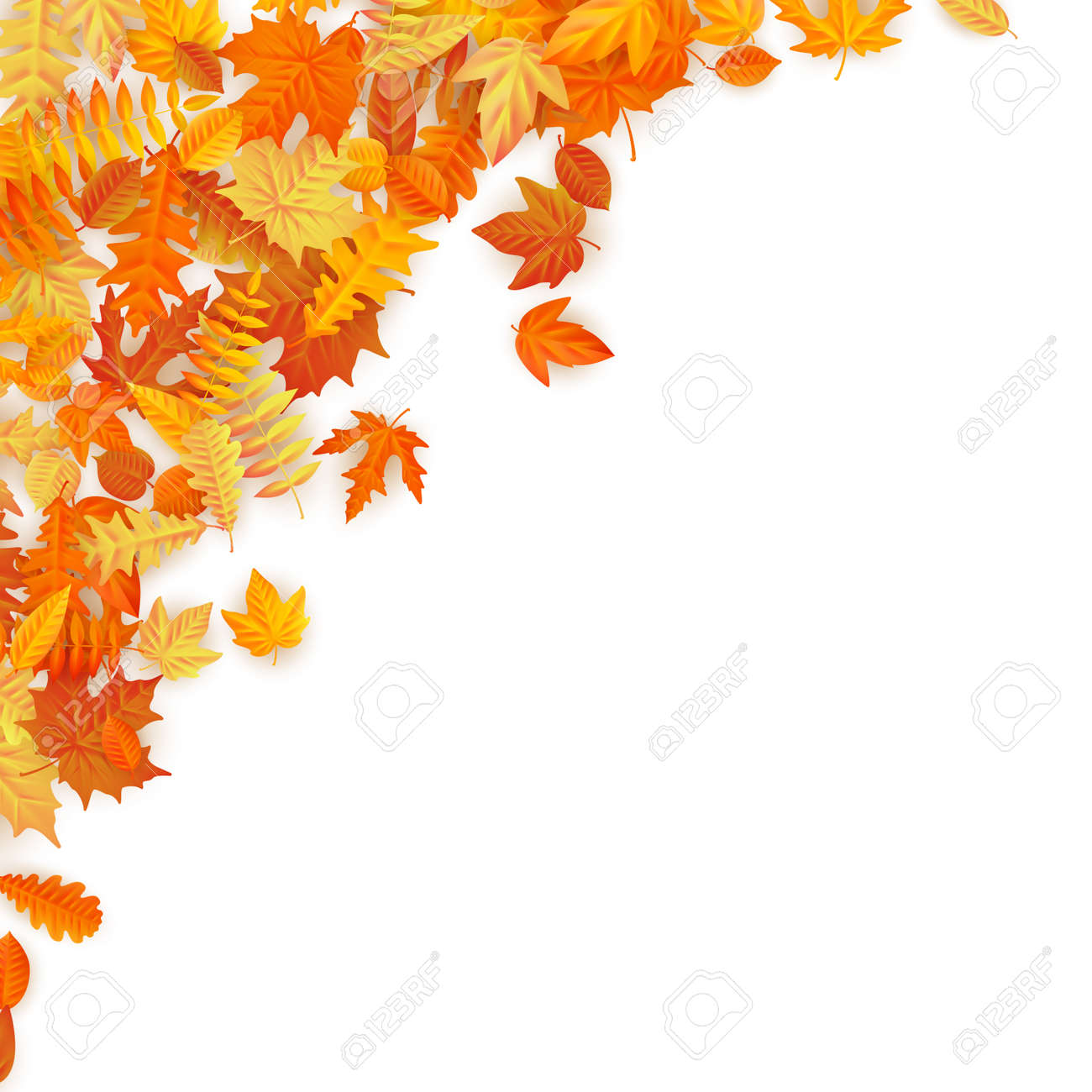 Frame with red, orange, brown and yellow falling autumn leaves. EPS 10 vector file - 126108163