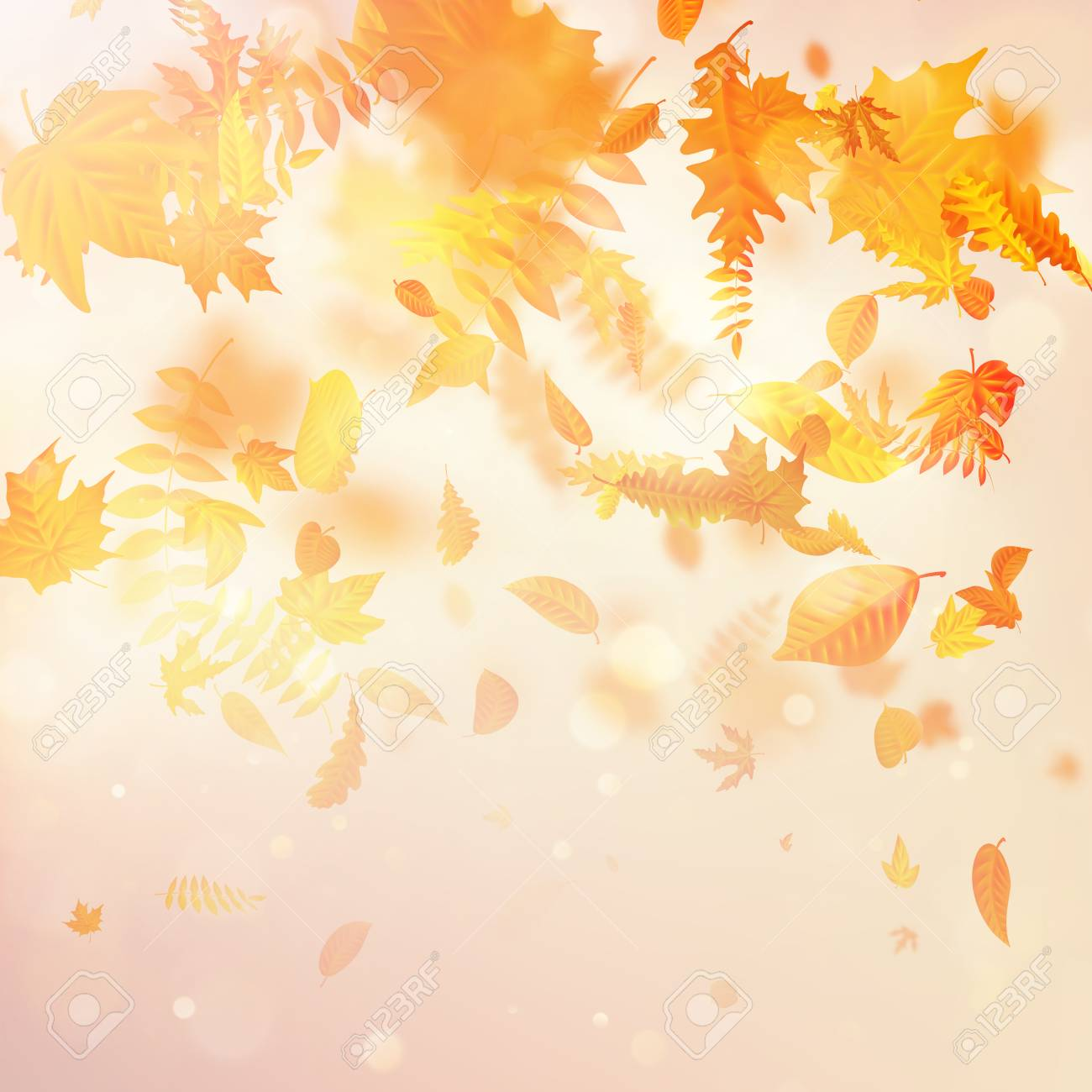 Autumnal foliage fall and poplar leaf flying in wind motion blur. EPS 10 vector file - 126062147