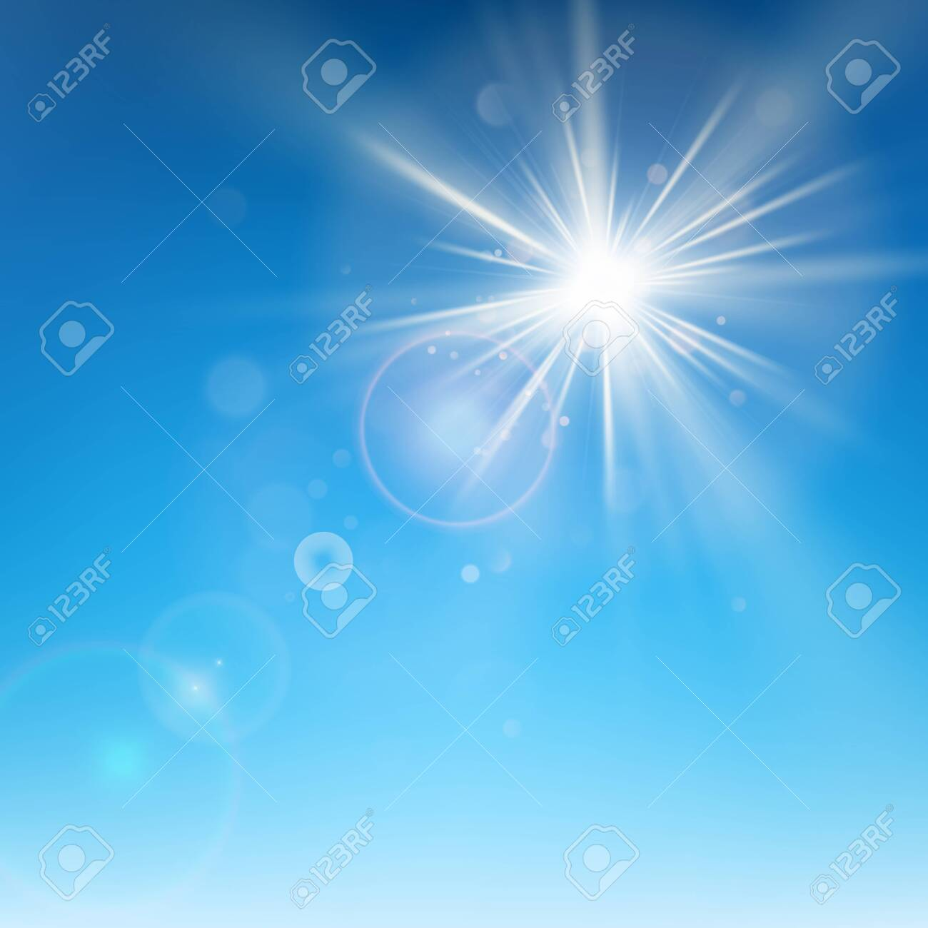 Clear blue sky with sun shine. Lens flare effect. EPS 10 vector file - 143687622