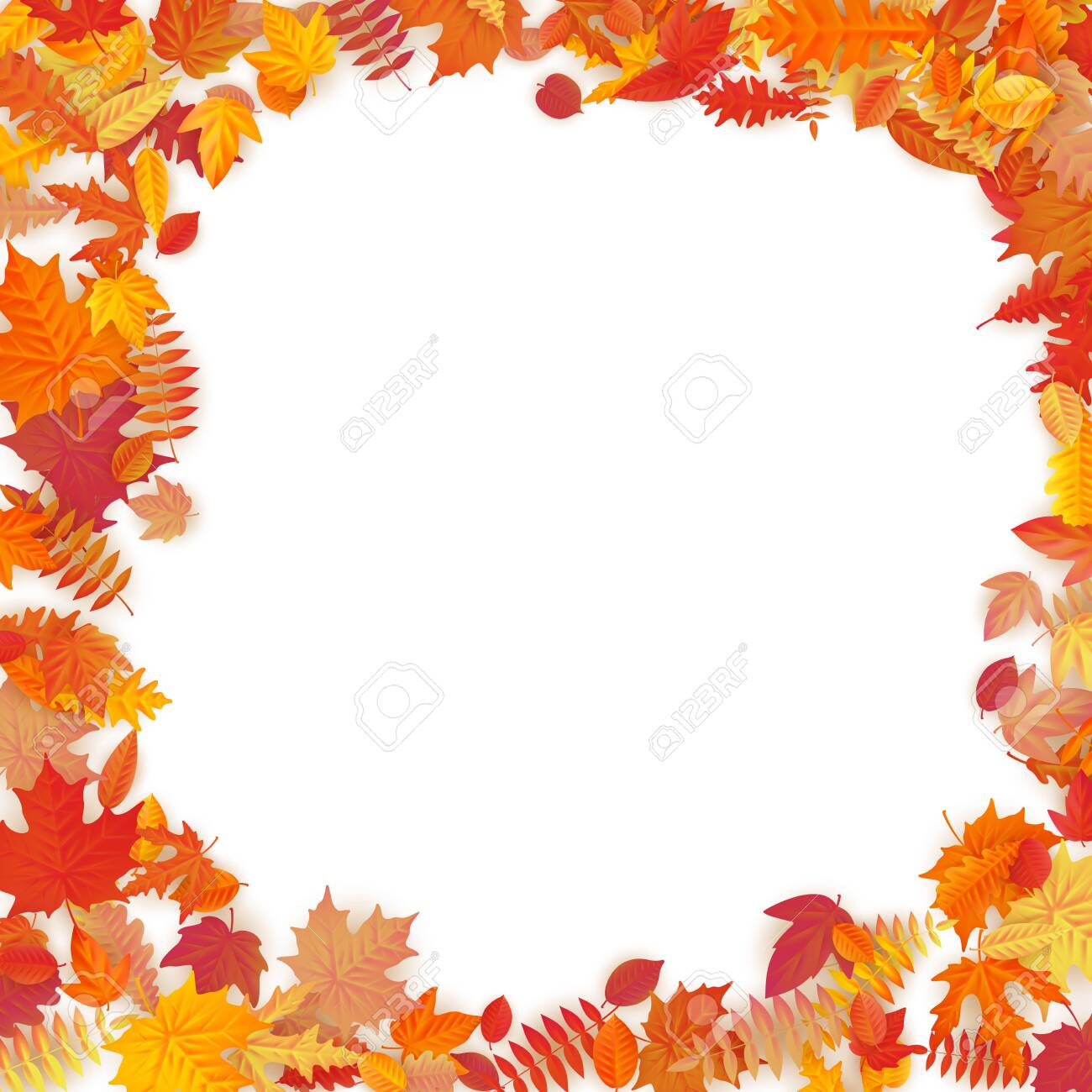 Frame with red, orange, brown and yellow falling autumn leaves. EPS 10 vector file - 143700725
