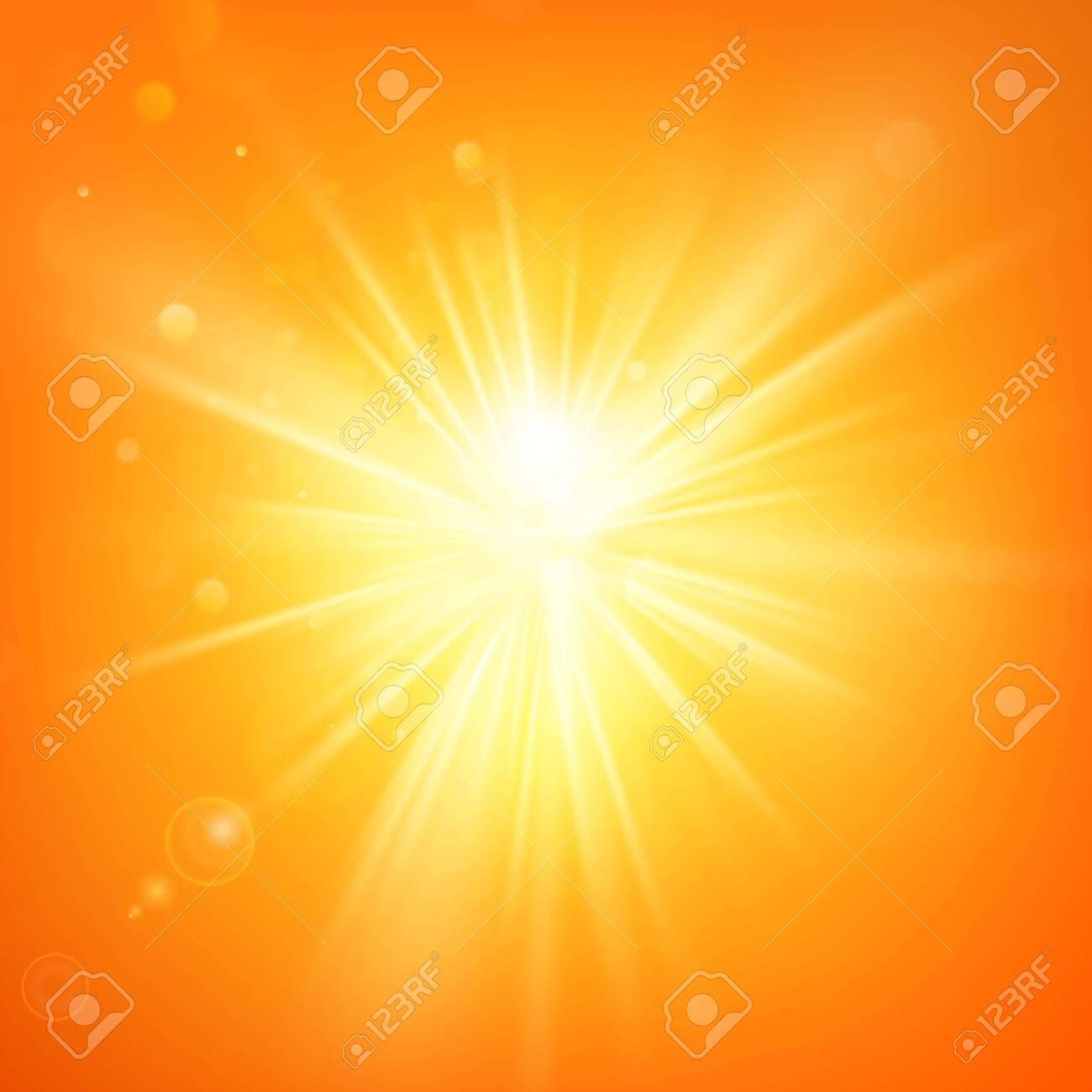 Summer template hot summer sun rays burst with lens flare. - 144110258