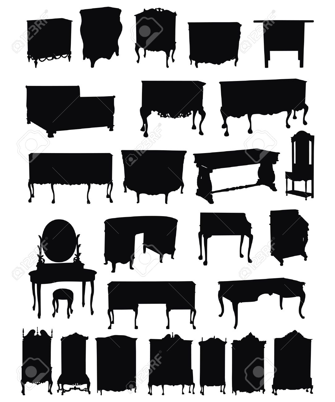 Antique chair silhouette - Antique Furniture Illustrations Of Antique Furniture Silhouettes On A White Background