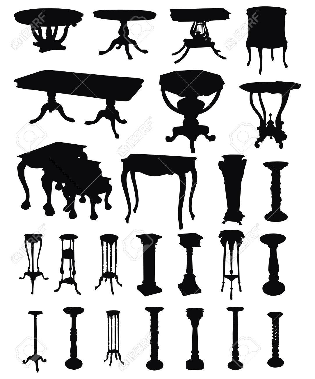 Antique chair silhouette - Vintage Furniture Illustrations Of Antique Tables Silhouettes On A White Background