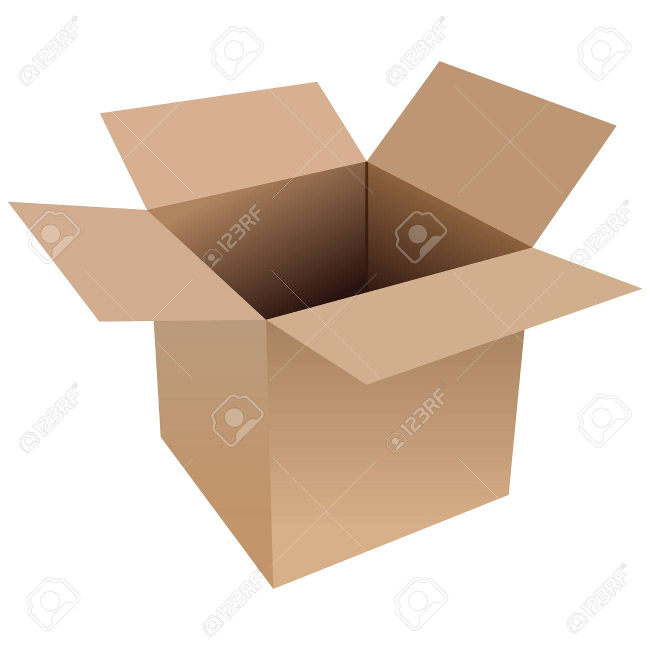 open cardboard box. illustration of an open cardboard box on a white background stock vector 6532562