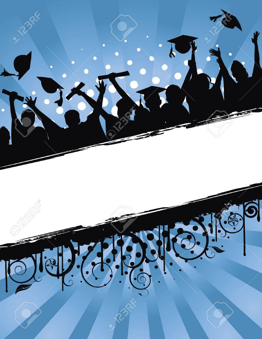 Grunge background  illustration of a group of graduates tossing their caps in celebration of graduation Stock Vector - 6649438