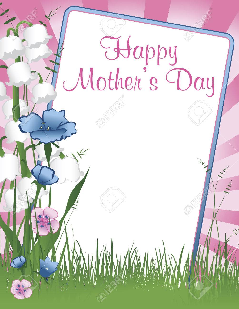 Illustration Background With A Frame Of Happy Mothers Day With ...