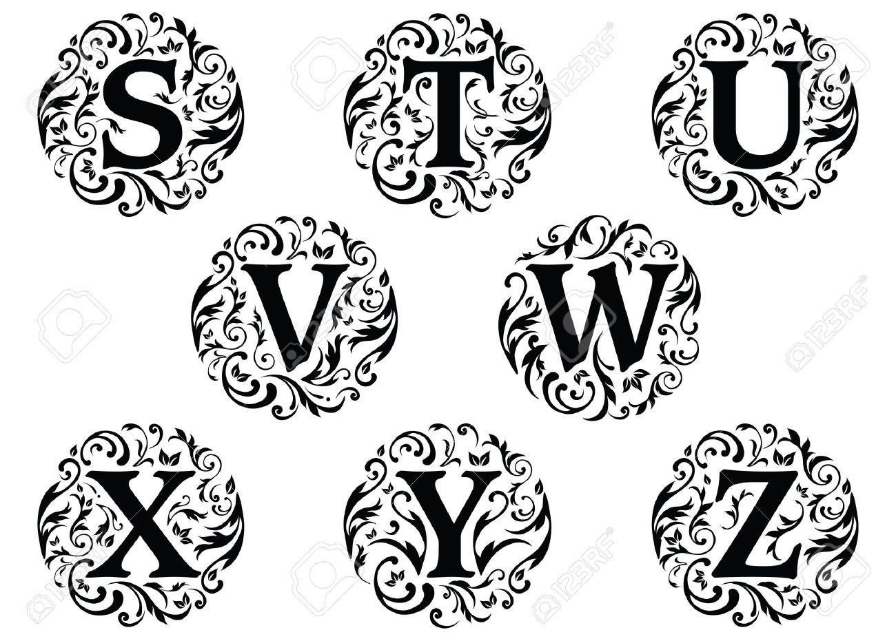 Vector illustration of alphabet letters with ornaments isolated on a white background Stock Vector - 9441344