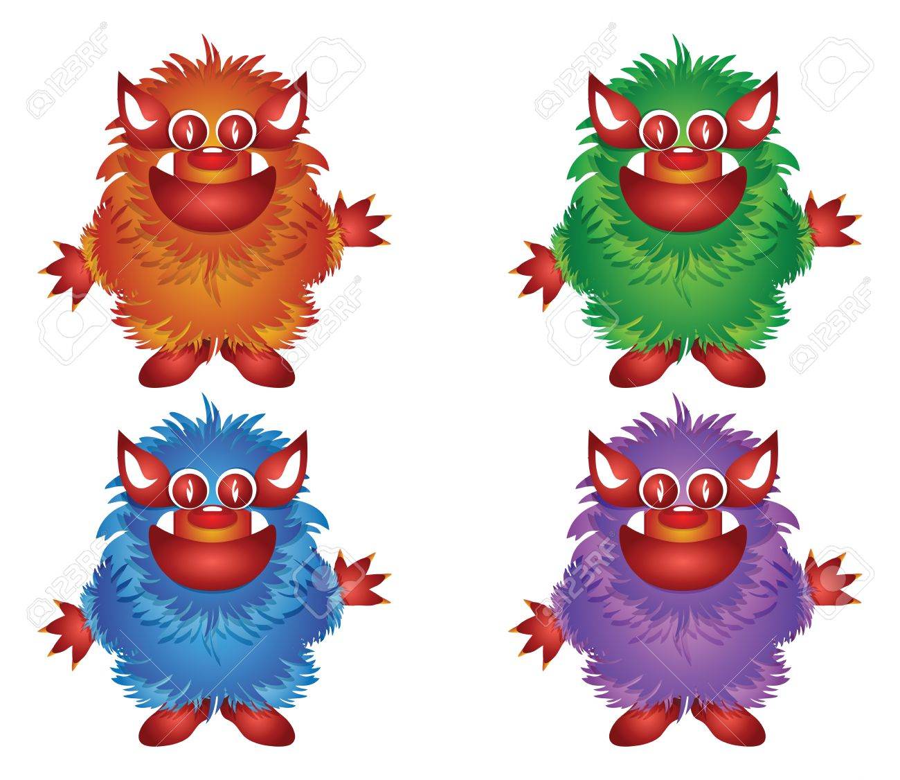hairy monster isolated on a white background Stock Vector - 9568533