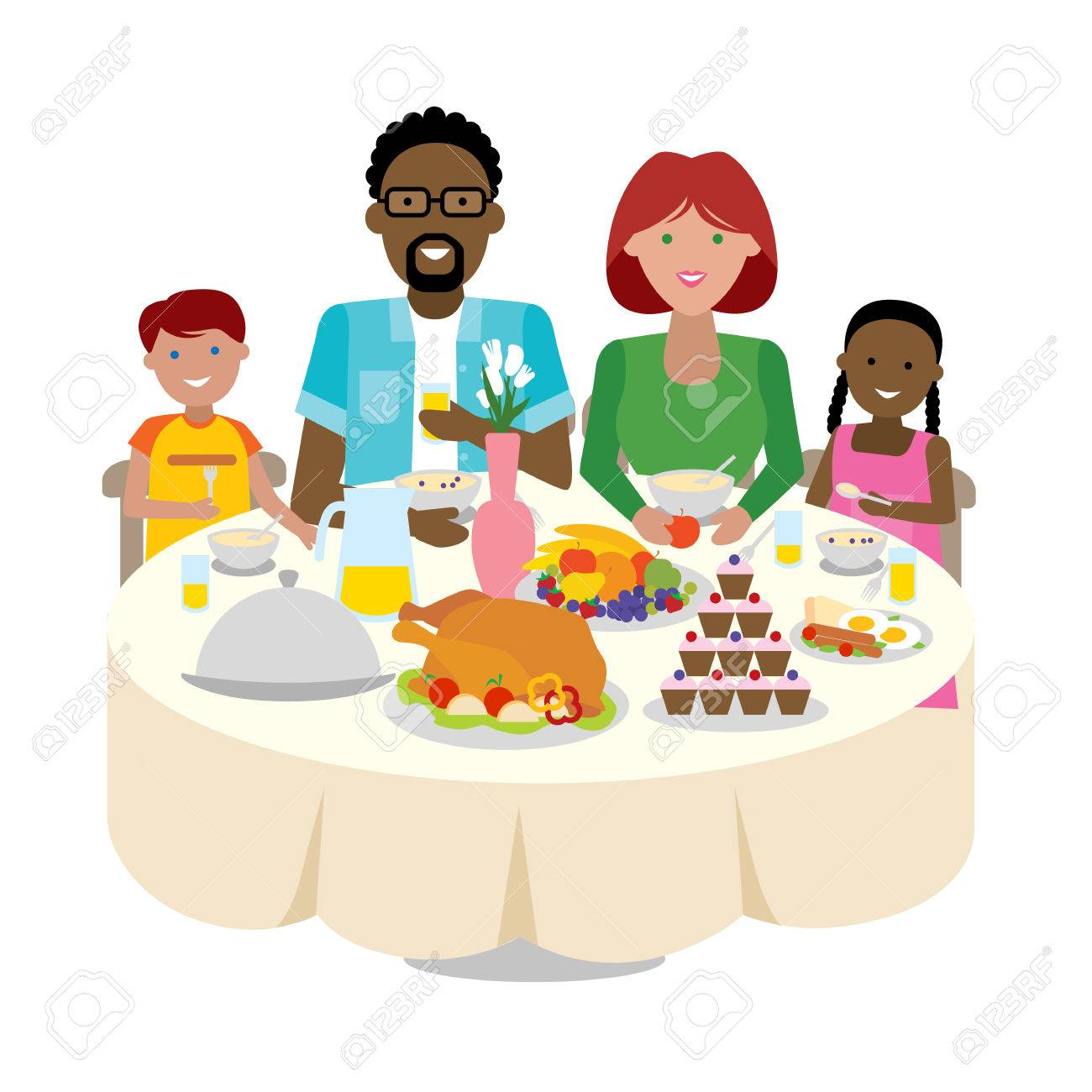 happy multicultural family dinner table thanksgiving celebration rh 123rf com