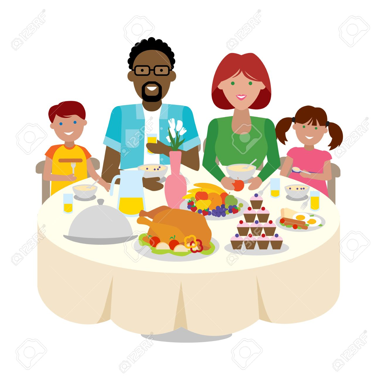 Happy Multicultural Family Dinner Table Thanksgiving Celebration Cake And Turkey Holiday Togetherness