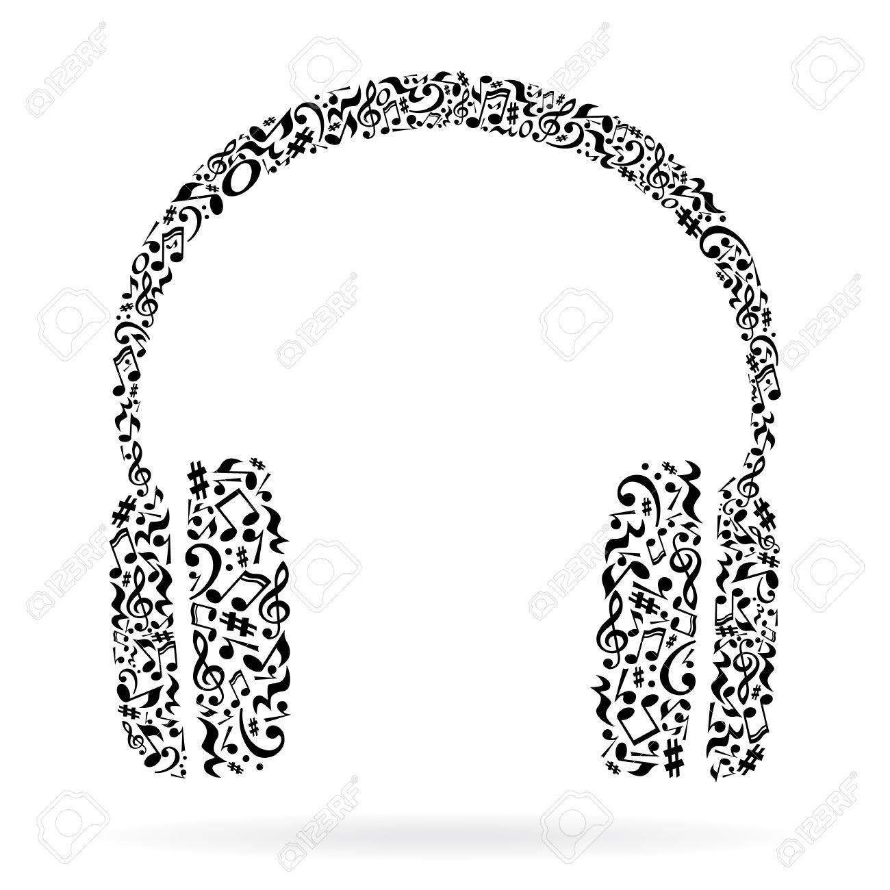 Casque En Notes De Musique Noir Note Motif Design Noir Et Blanc