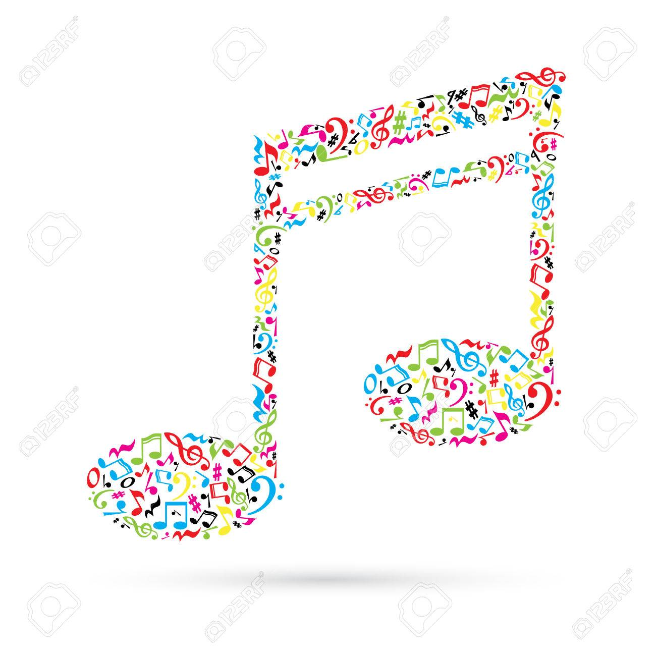 Music note made of music notes on white background colorful music note made of music notes on white background colorful notes pattern note shape buycottarizona Image collections