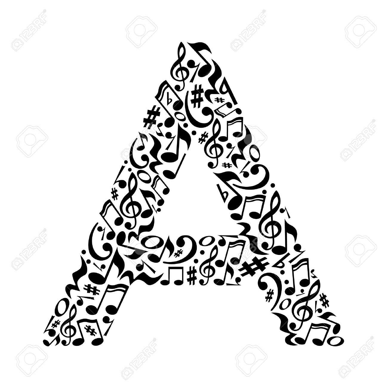 A letter made of musical notes on white background. Alphabet for art school. Trendy font. Graphic decoration. - 57429272