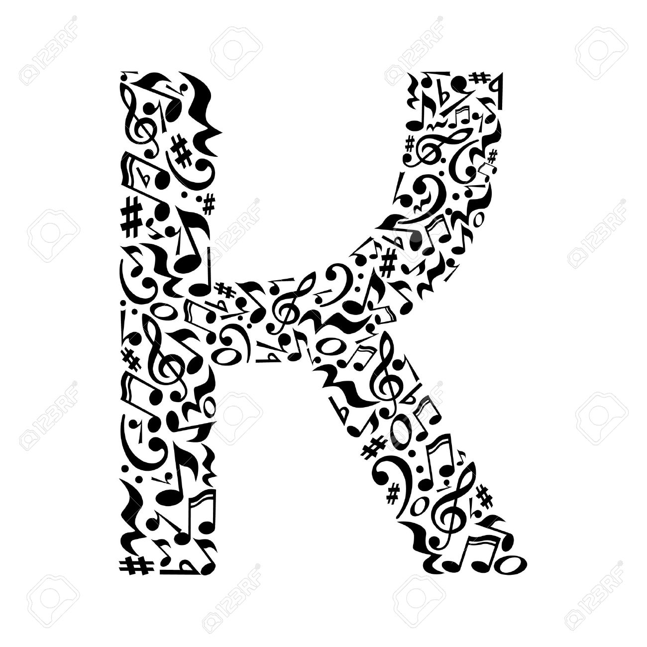 K Letter Made Of Musical Notes On White Background Alphabet