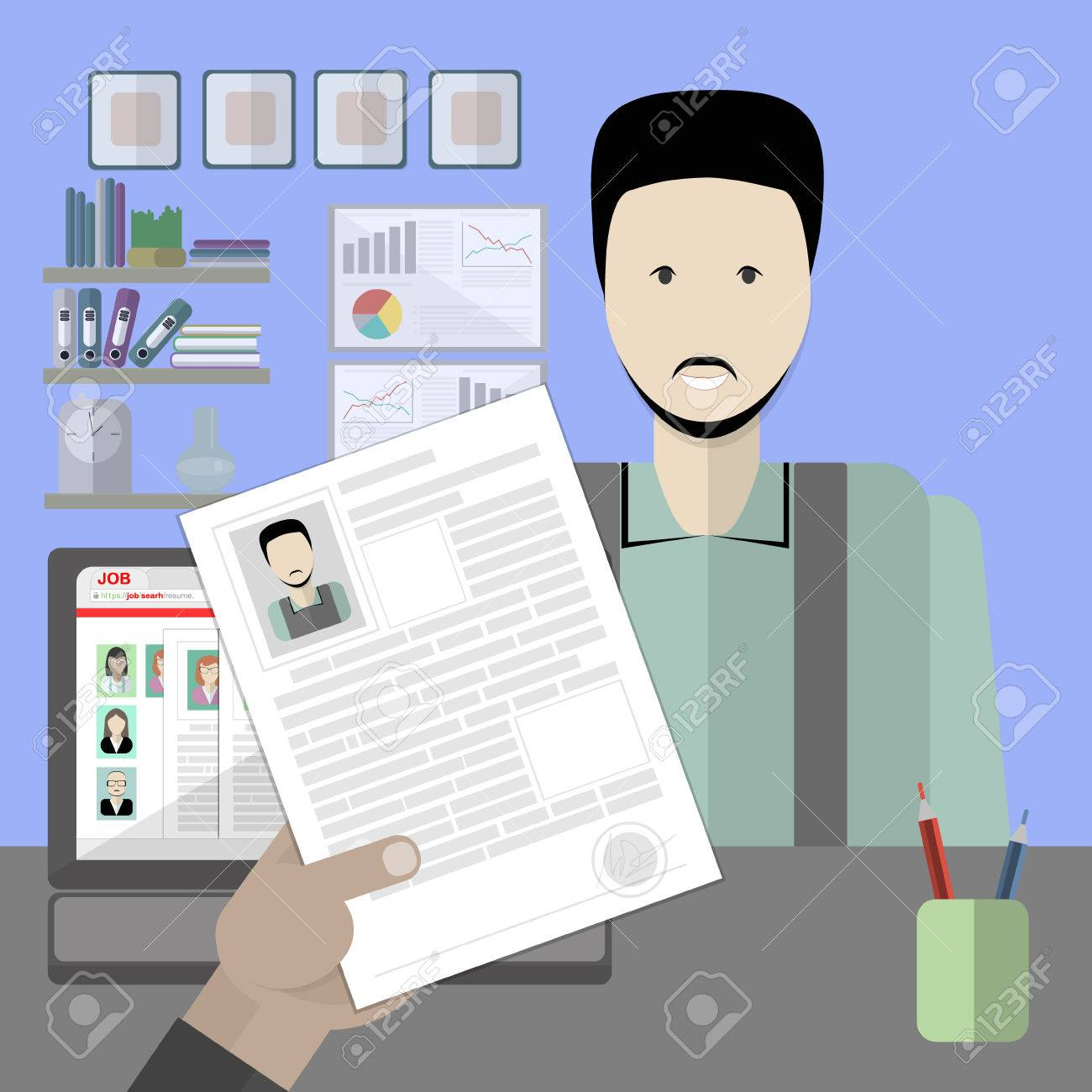 job interview with male resume recruitment and hiring candidate professional choice hire employee