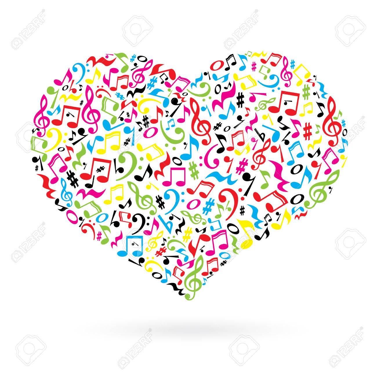 Corazón Aislado Hecho De Notas Sobre Fondo Blanco Modelo Del