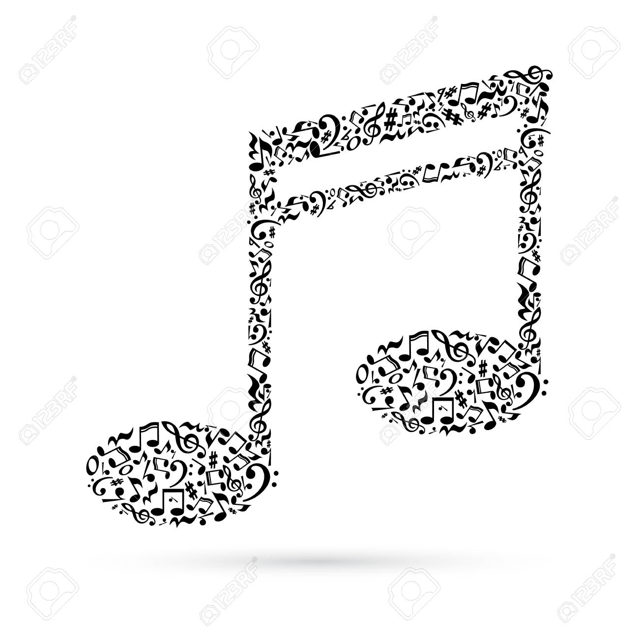 Music Note Made Of Music Notes On White Background Black Notes
