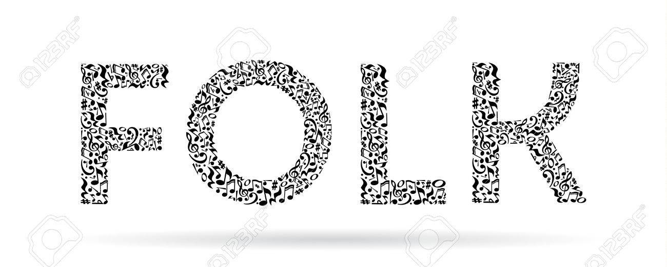 Word Made Of Musical Notes On White Background Black Notes Pattern