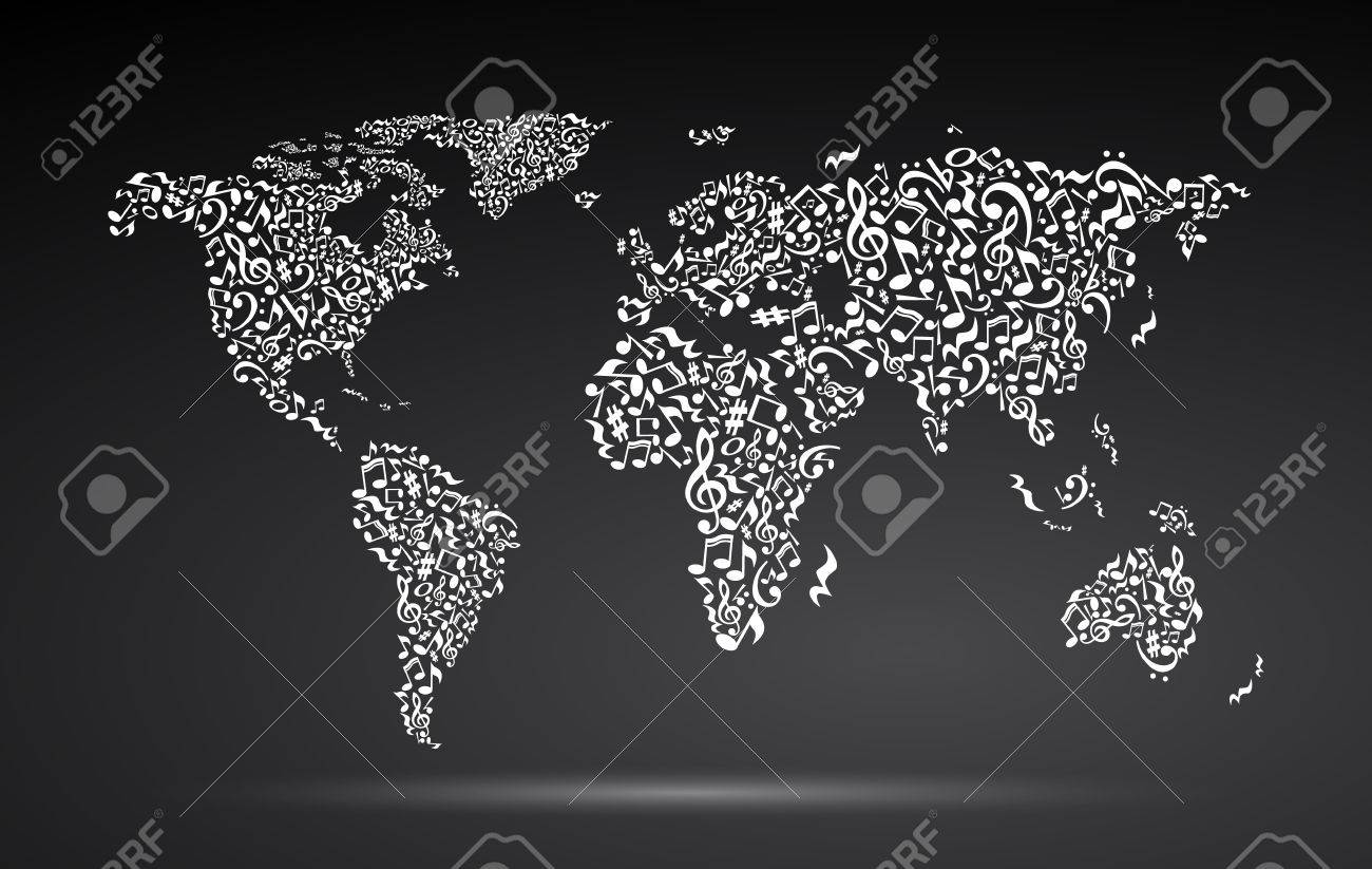 vector world map from notes on black background white notes pattern black and white design map shape poster idea