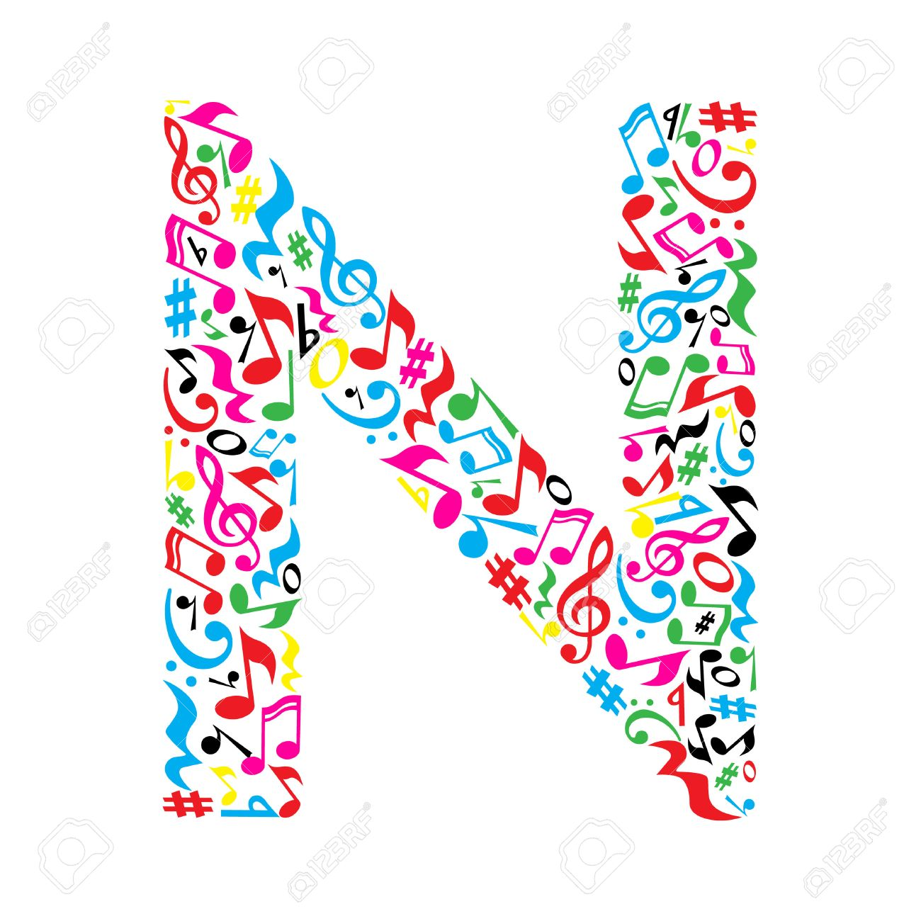 N letter made of colorful musical notes on white background. Alphabet for art school. Trendy font. Graphic decoration. - 57949582