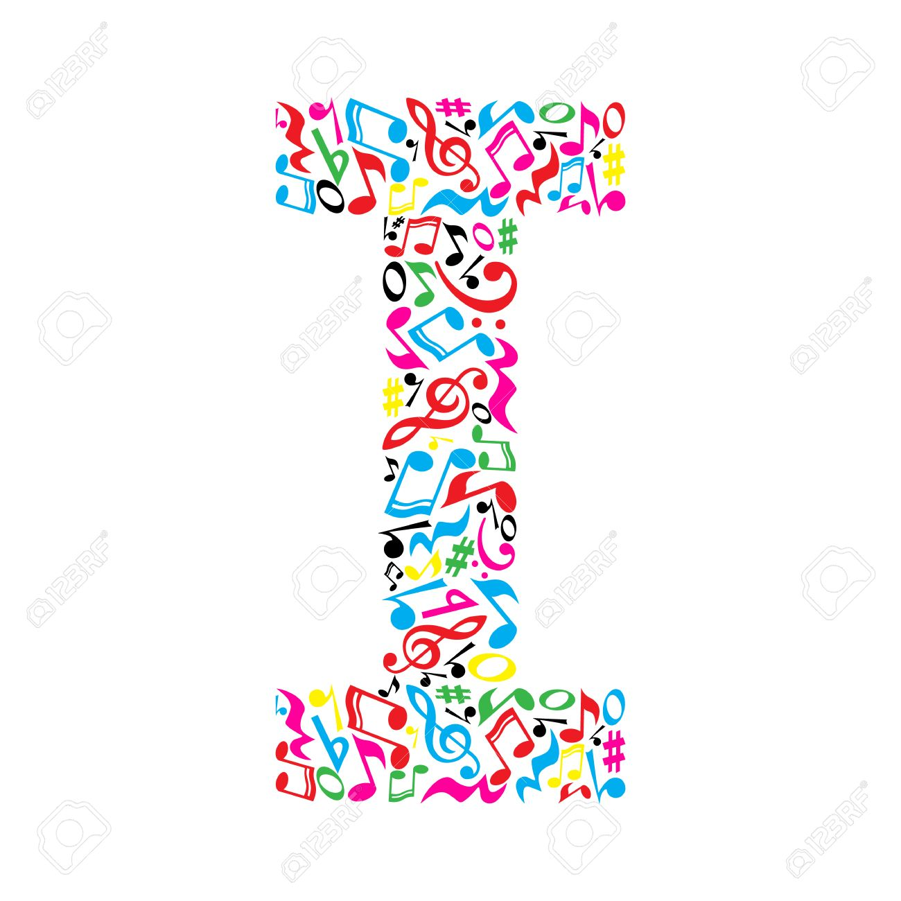 I letter made of colorful musical notes on white background. Alphabet for art school. Trendy font. Graphic decoration. - 57949677