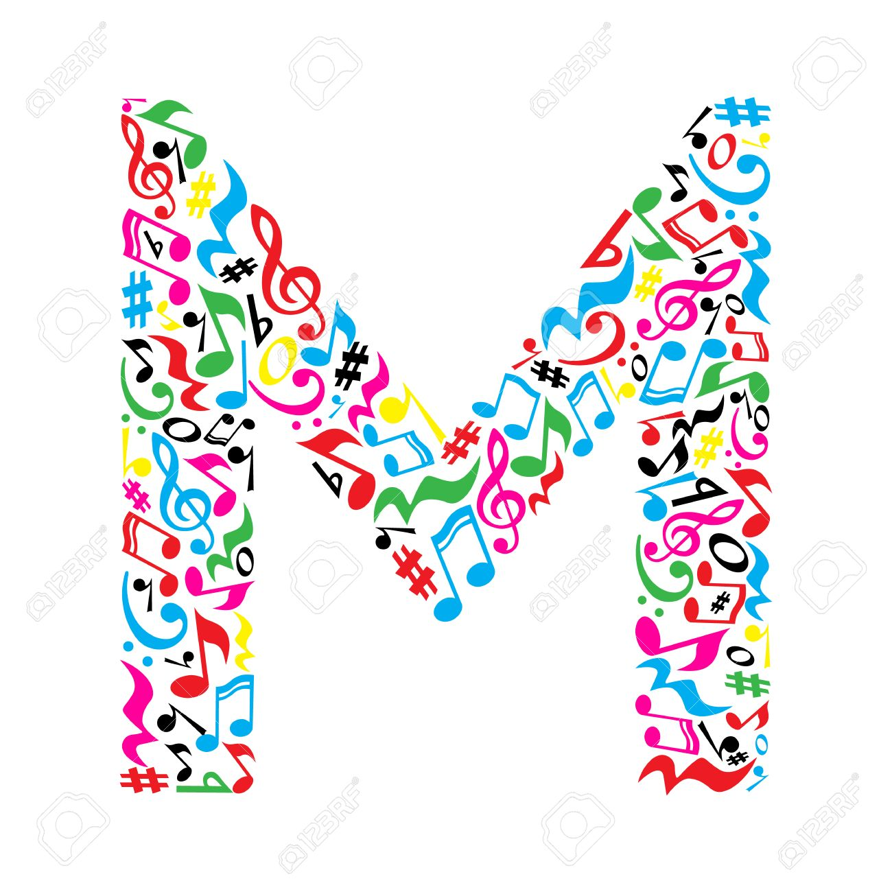 m letter made of colorful musical notes on white background
