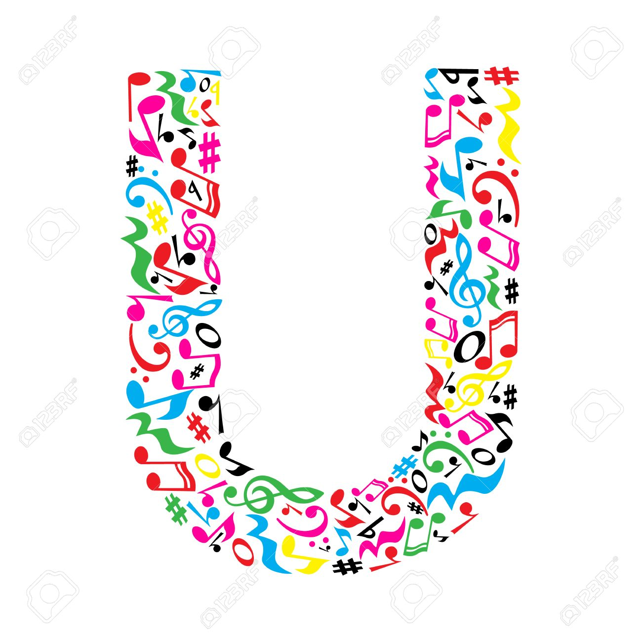 U letter made of colorful musical notes on white background. Alphabet for art school. Trendy font. Graphic decoration. - 57949684